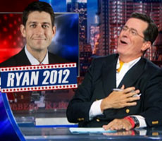 Colbert skewers Romney's selection of Ryan