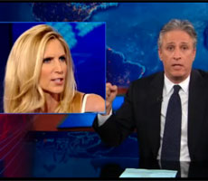 Coulter explodes about pro-Obama Super PAC Ad – Jon Stewart calls her out