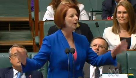 Australian Prime Minister Gillard grills opposition on his misogyny