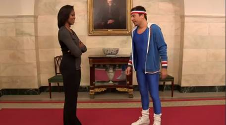 Jimmy Fallon Squares Off With Michelle Obama – In A Blue Body Suit? (VIDEO)