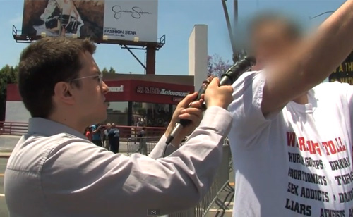Brick Stone vs Anti-Gay Protesters at Gay Pride Parade (VIDEO)