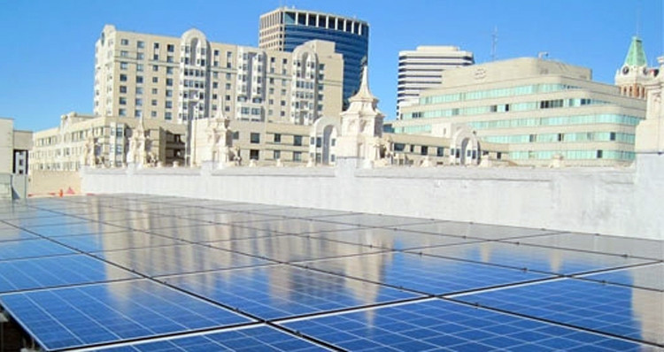 Mosaic's solar roof project atop an Oakland, CA building.