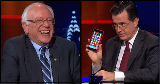 Will He Or Won't He? Bernie Sanders Talks With Stephen Colbert About Running For President.