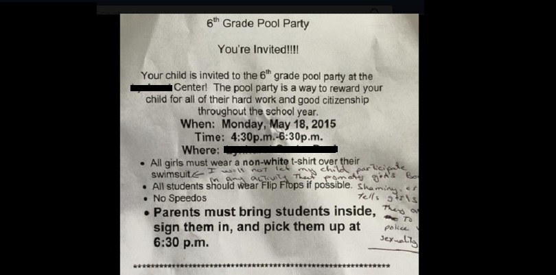 Equal Opportunity Body Shaming On A 6th Grade Pool Party Permission Slip