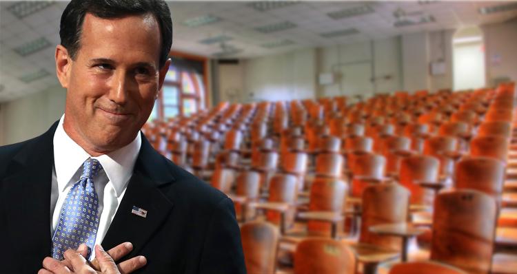 Rick Santorum Draws A Crowd Of One While Bernie Sanders Draws Overflowing Crowds