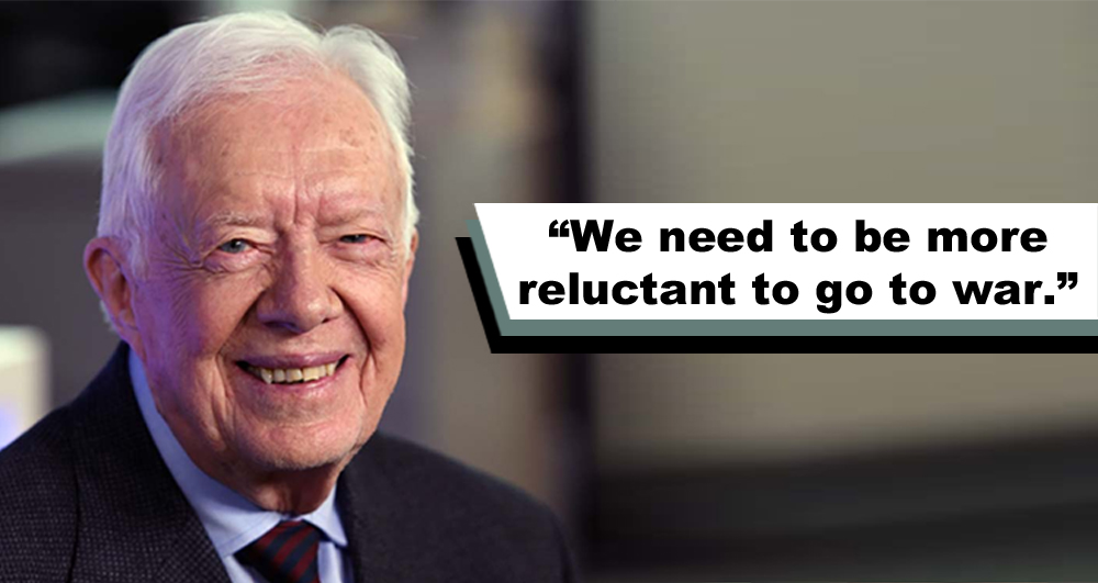 Jimmy Carter: 'We never dropped a bomb. We never fired a bullet. We never went to war'