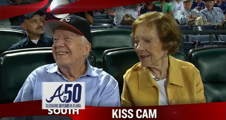 Jimmy Carter And Wife, Rosalynn, Captured Smooching By Atlanta Braves' 'Kiss Cam' – VIDEO