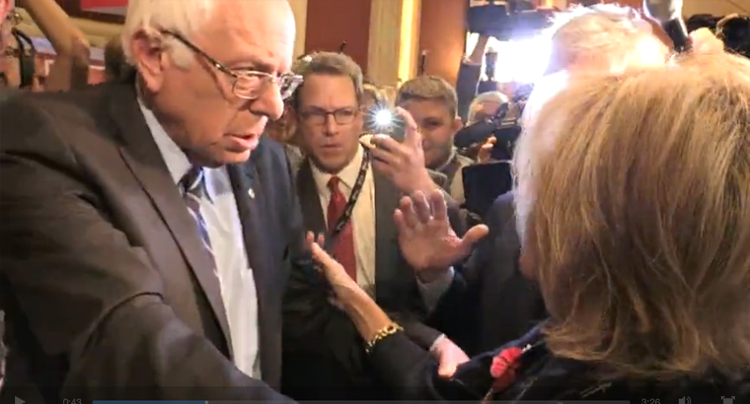 Watch Bernie Sanders Save Andrea Mitchell From Getting Trampled