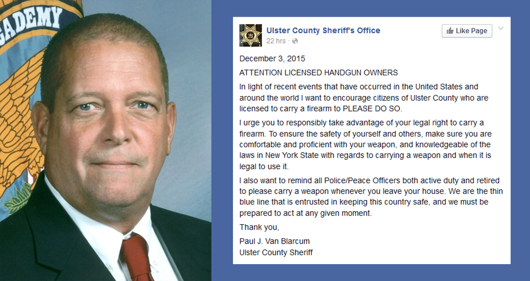 Outrage After New York Sheriff Issues A Call To Arms On Facebook (Video)