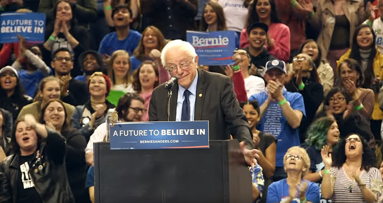 crowd goes wild after bird of peace lands on sanders podium during