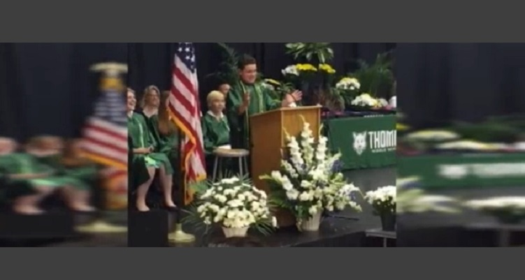 8th Grader Impersonates Presidential Candidates In Graduation Speech – Crowd Cheers