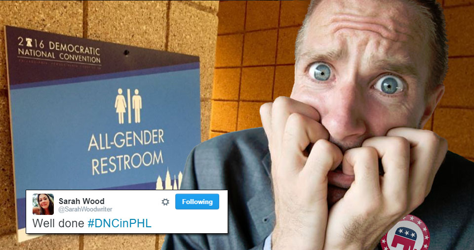 Conservatives Terrified By DNC's 'Bizarre, Confusing And Disgusting' All-Gender Restroom (VIDEO)