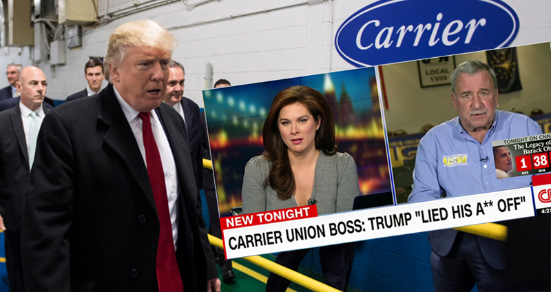 Threats Follow Trump's Attack On Carrier Union Boss For Fact-Checking His Lies About Saving Jobs