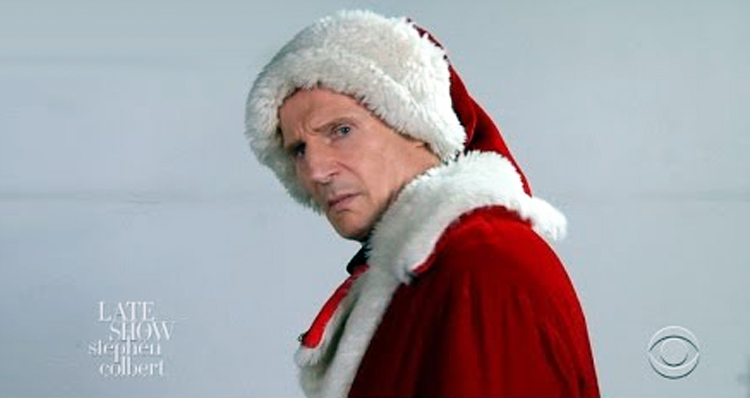An Angry Liam Neeson Auditions To Be Mall Santa Claus – Video