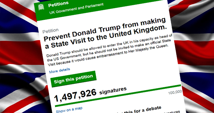 Anti-Trump Petition To Cancel State Visit To The UK Receives Nearly 1.5 Million Signatures And Counting
