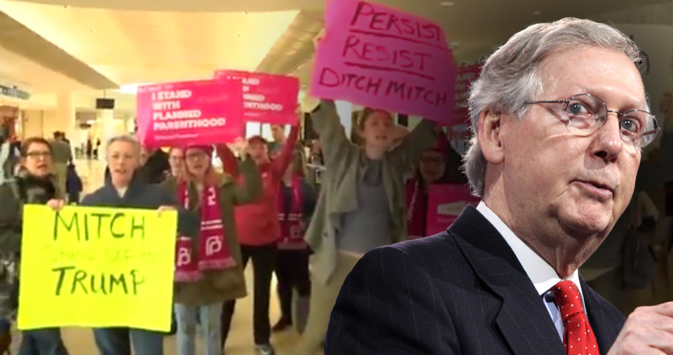 Mitch McConnell Flees Outraged Constituents At Airport Only To Find 400 More At Home – Video