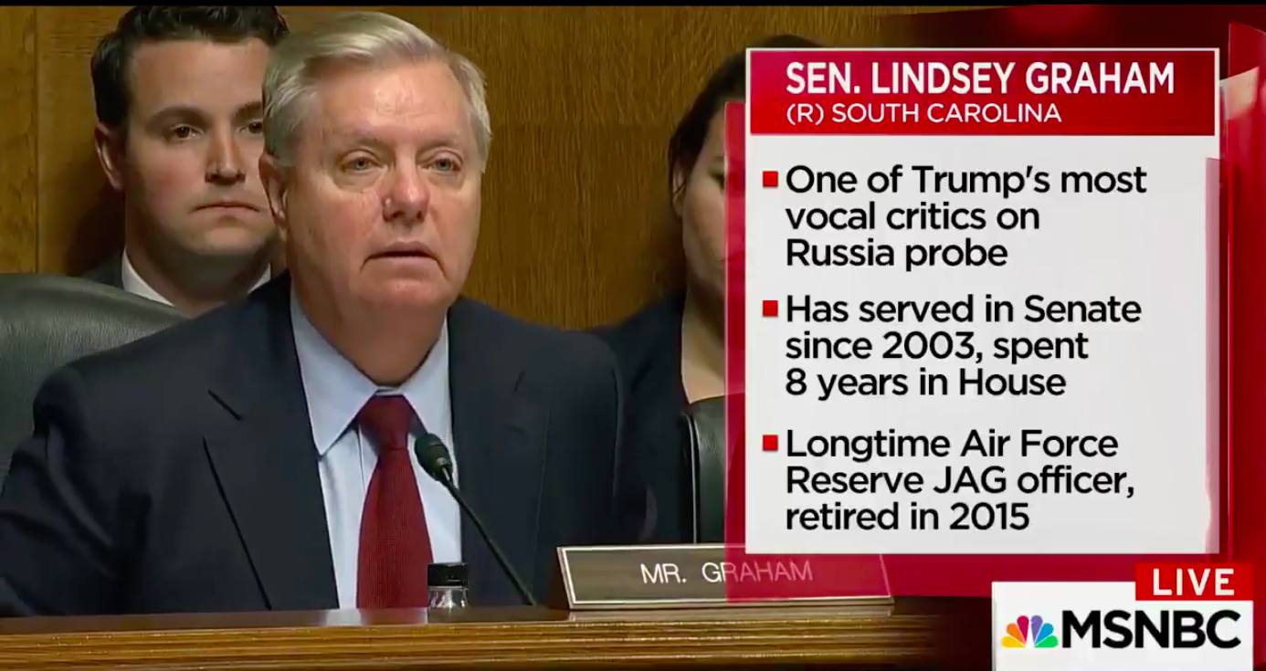 Watch Lindsey Graham Grill Trump's Nominee For FBI Director About Trump Jr's Russia Meeting