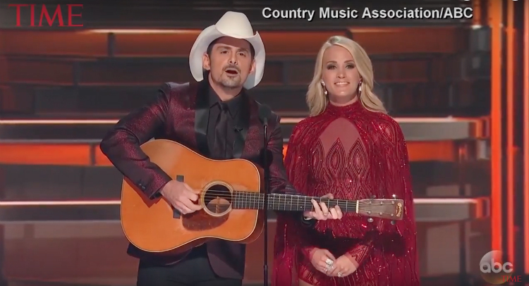 Brad Paisley and Carrie Underwood Let Loose On Trump At CMA Awards – Video