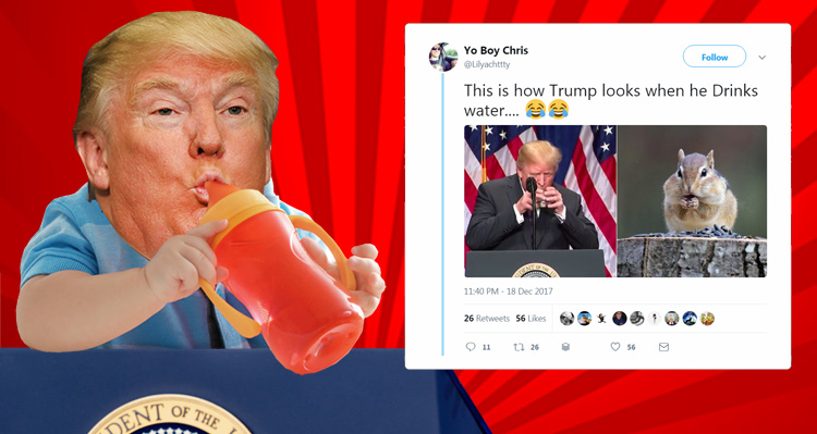 Trump Mercilessly Mocked After Drinking Water With Two Hands Like A Child During Important National Security Speech
