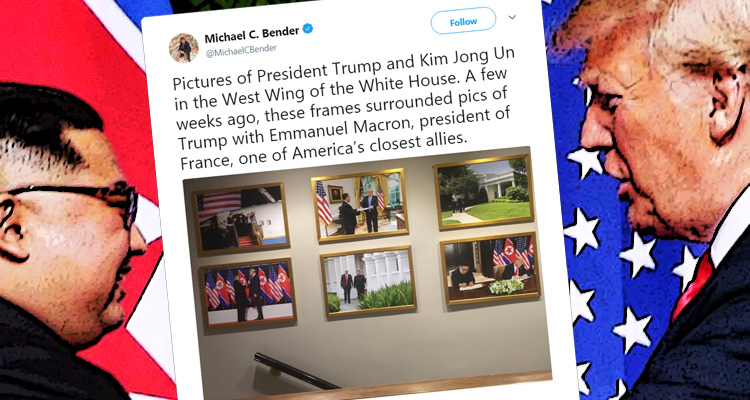 Trump Replaced White House Photos Of Emmanuel Macron With Images Of Kim Jong-un