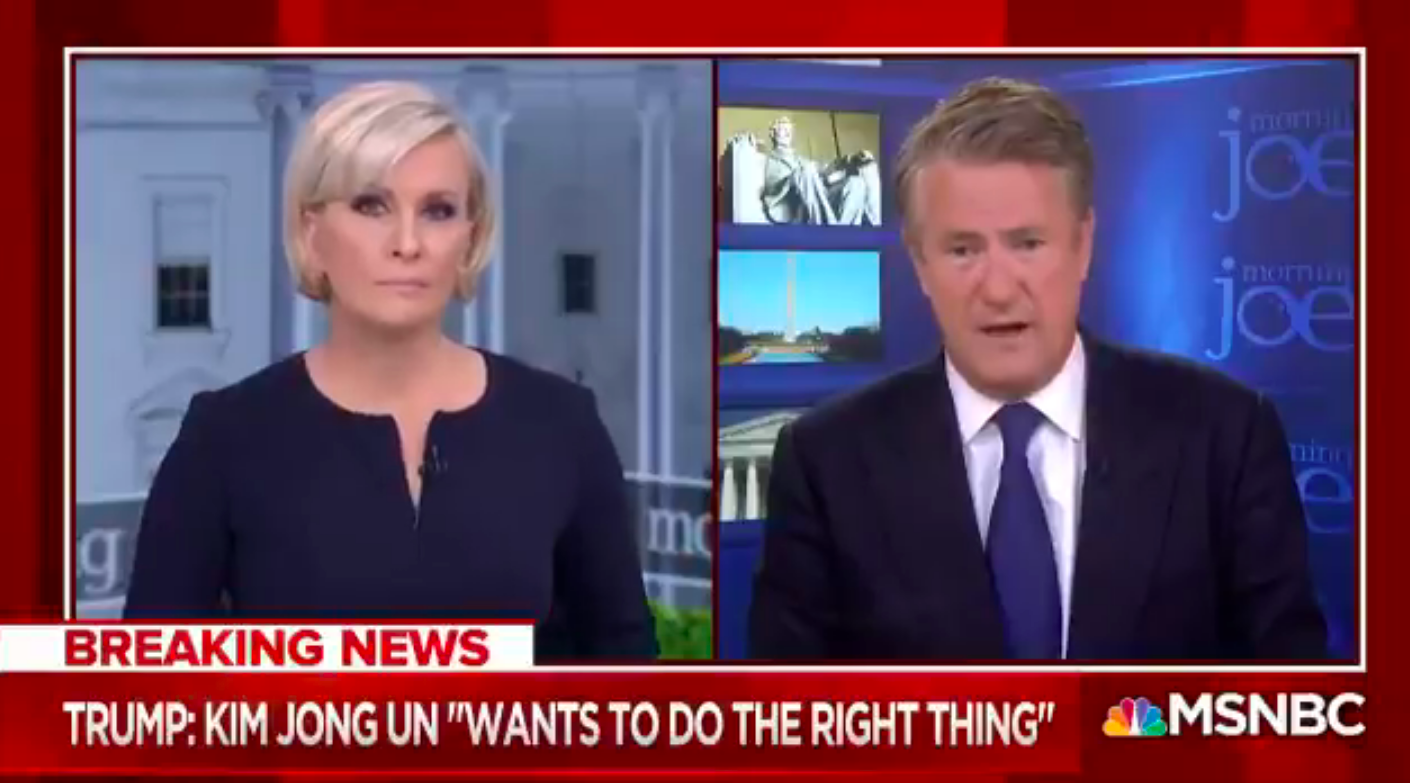 Twitter Claps Back At Clueless Joe Scarborough For Saying  He's Relieved To See Trump Shaking Kim's Hand