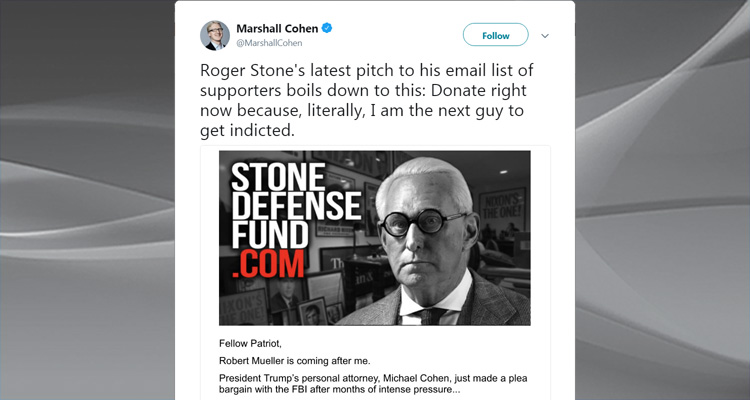 'I'm Next' – A Panic-Stricken Roger Stone Begs His Fans For Money