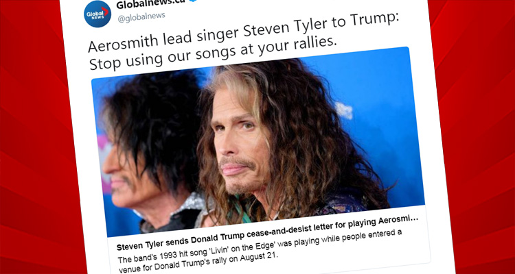 Steven Tyler Sends Trump A Cease And Desist Letter