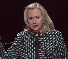 Hillary Clinton speaks out for women's rights at the Women in the World Summit