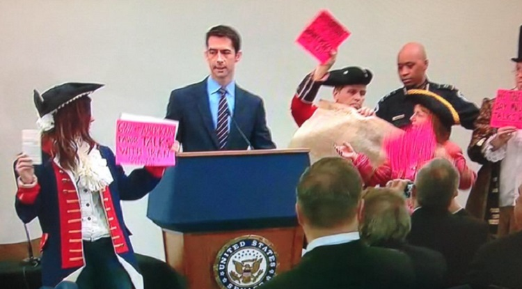 Colonial CODEPINK Schools Sen. Tom Cotton On The Constitution (VIDEO)