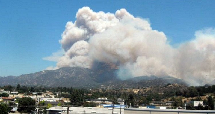 View from my living room, August 2009. Station Fire.