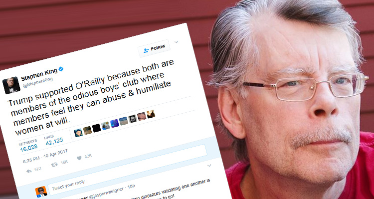 Stephen King Ignites Twitter-Storm After Mocking Women Abusers Trump And O'Reilly