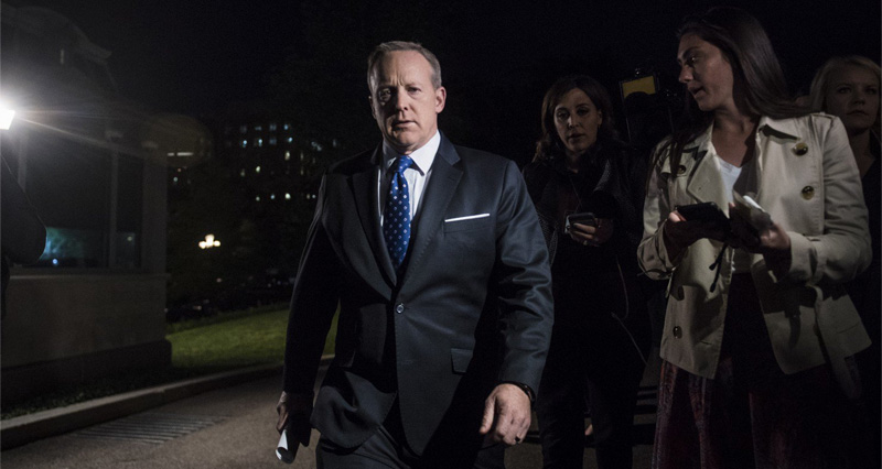 Sean Spicer Literally Hides In Bushes To Avoid Answering Questions About Comey Firing